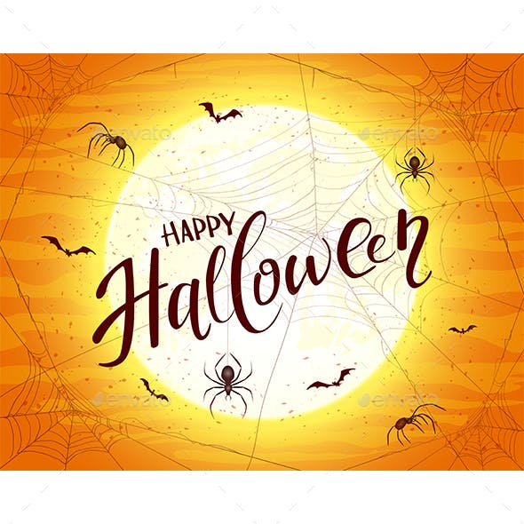 Happy Halloween on Orange Background with Spiders and Bats