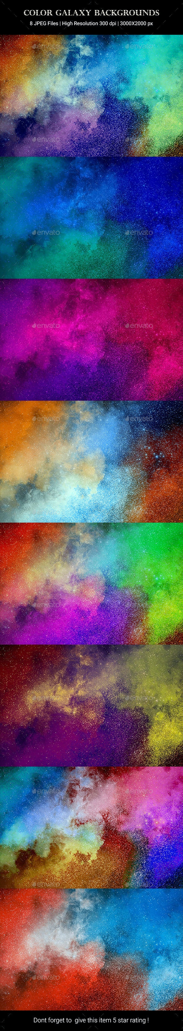 9 Color Galaxy Backgrounds - Backgrounds Graphics