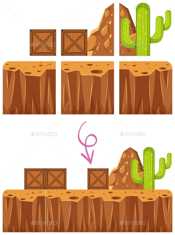 Game Element Desert Scene Template - Organic Objects Objects