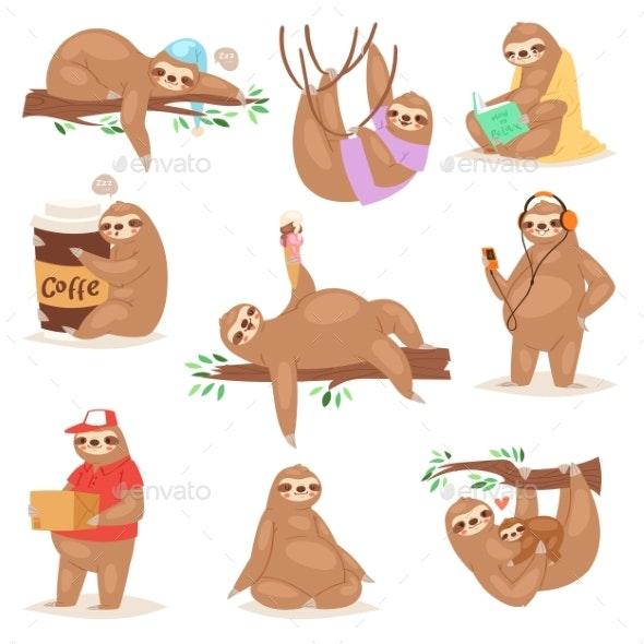 Sloth Vector Slothful Animal Character Playing - Animals Characters