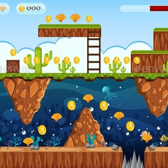 Adventure Game Land And Underwater Scene