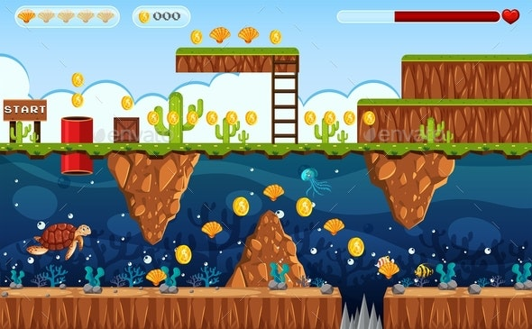 Adventure Game Land And Underwater Scene - Landscapes Nature