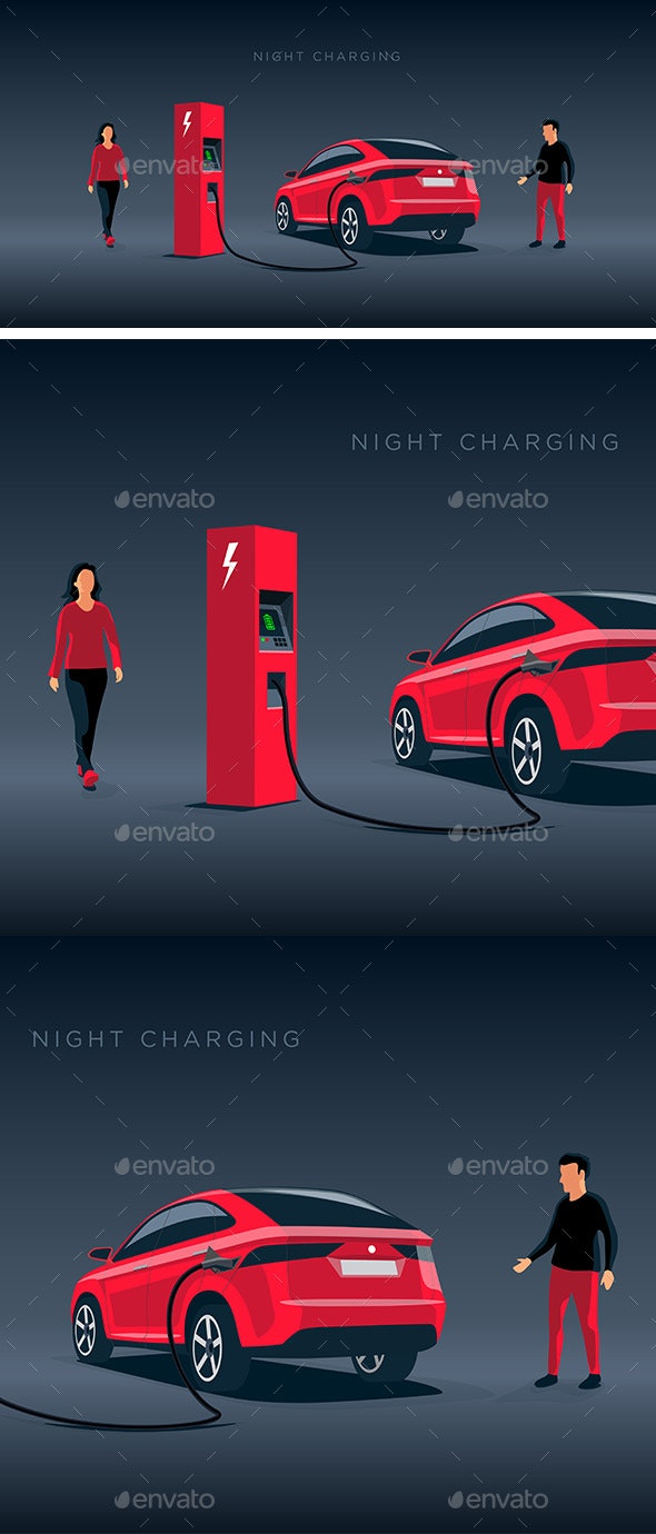 Electric Car Suv Night Off-Peak Charging at the Charger Station - Travel Conceptual