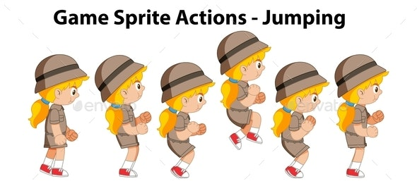 Game Sprite Actions Jumping - Characters Vectors