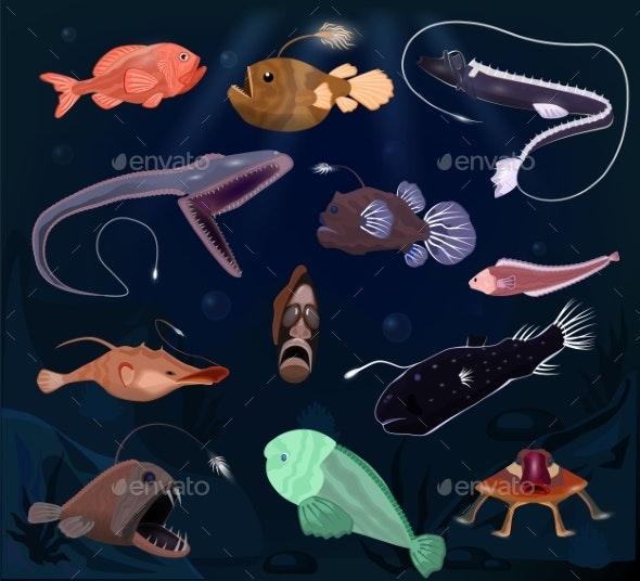Angler Fish Vector Angry Seafish Predator - Animals Characters