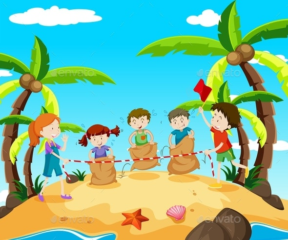 Kids in Jumping Race on The Beach - People Characters