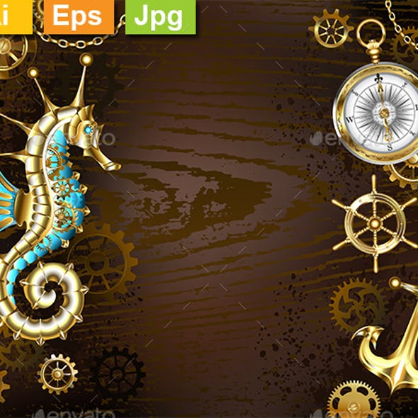 Wooden Background with Mechanical Seahorse