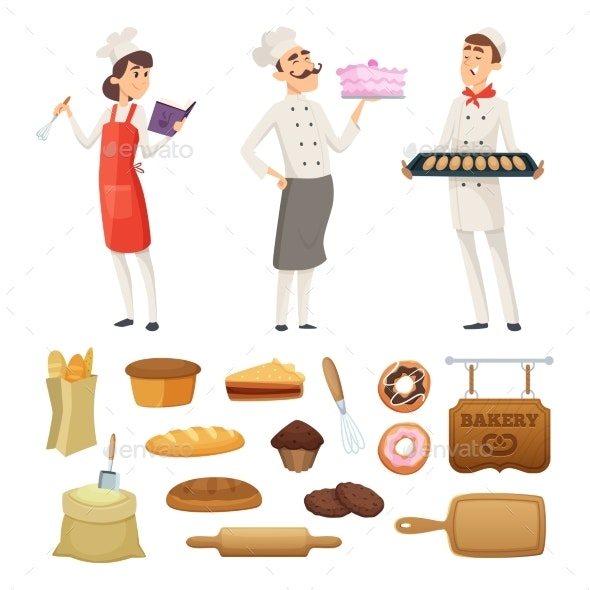 Bakers Male and Female at Work - Food Objects