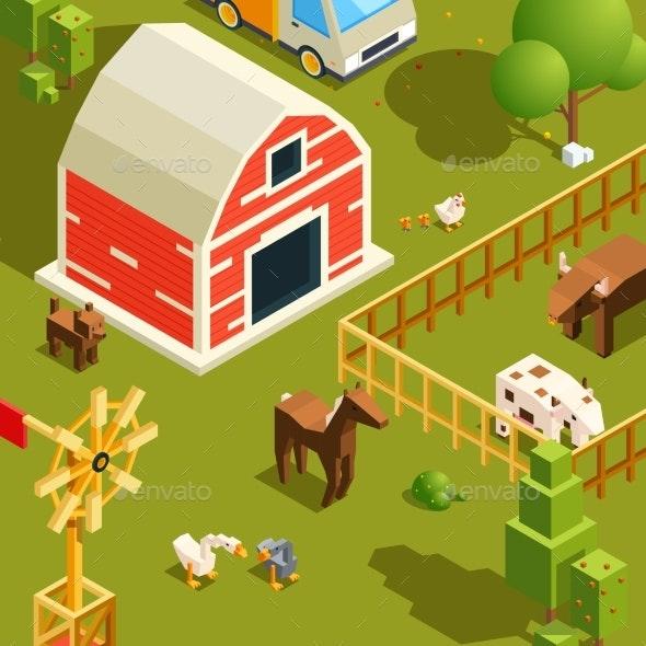 Isometric Farm Landscape - Miscellaneous Vectors