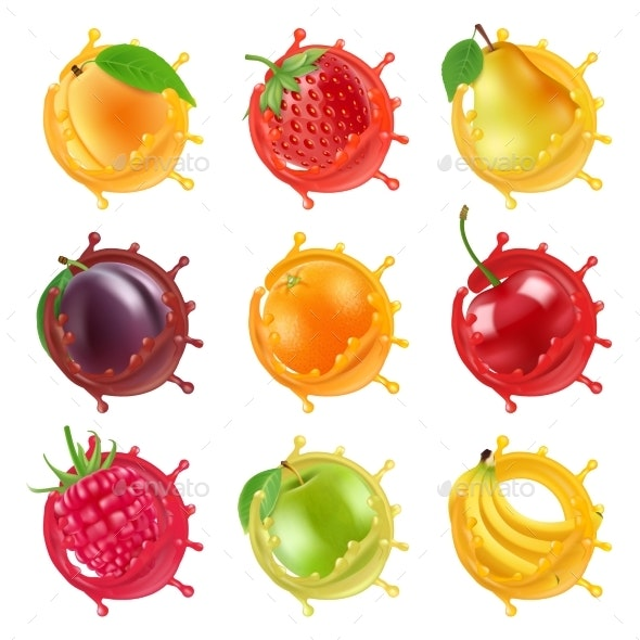 Fruits in Juicy Splashes - Food Objects