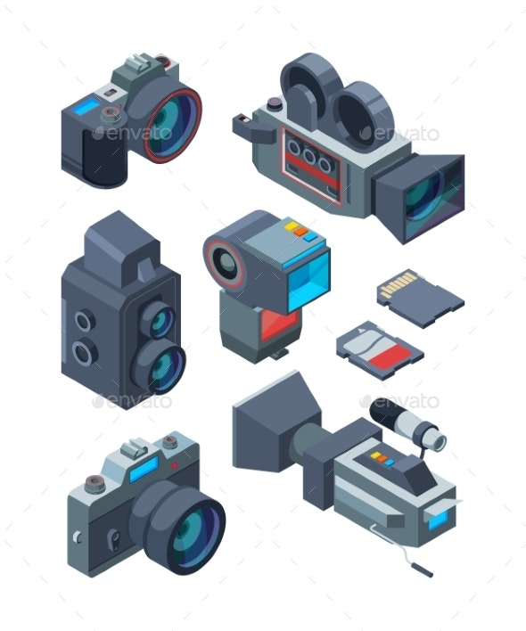 Isometric Video and Photo Cameras - Man-made Objects Objects