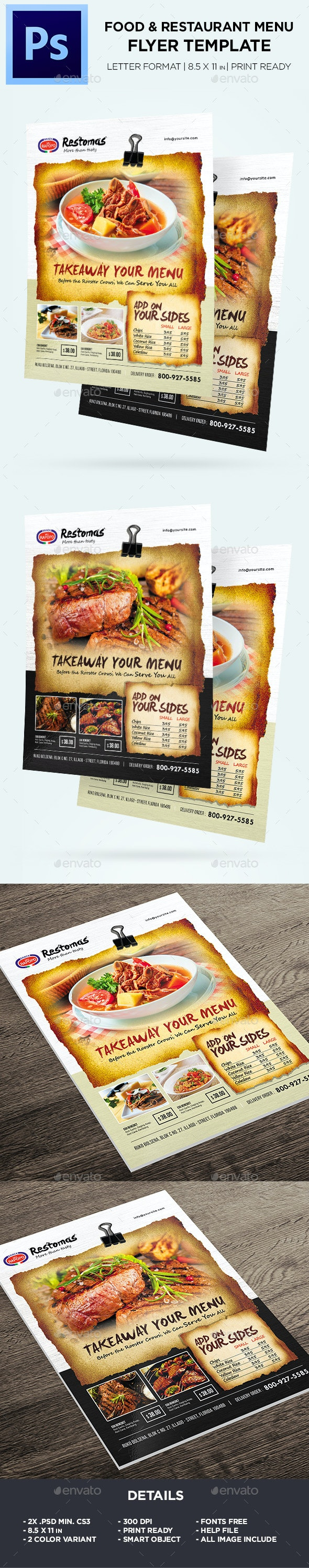 Food Menu - Restaurant Menu Flyer - Food Menus Print Templates