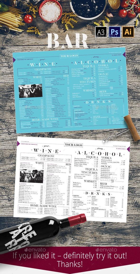 Restaurant Bar Template - Food Menus Print Templates
