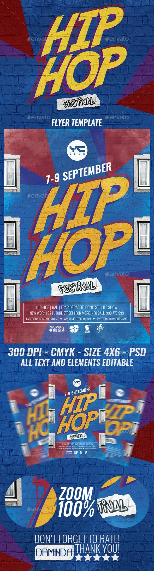Hip Hop Festival Flyer Template - Clubs & Parties Events