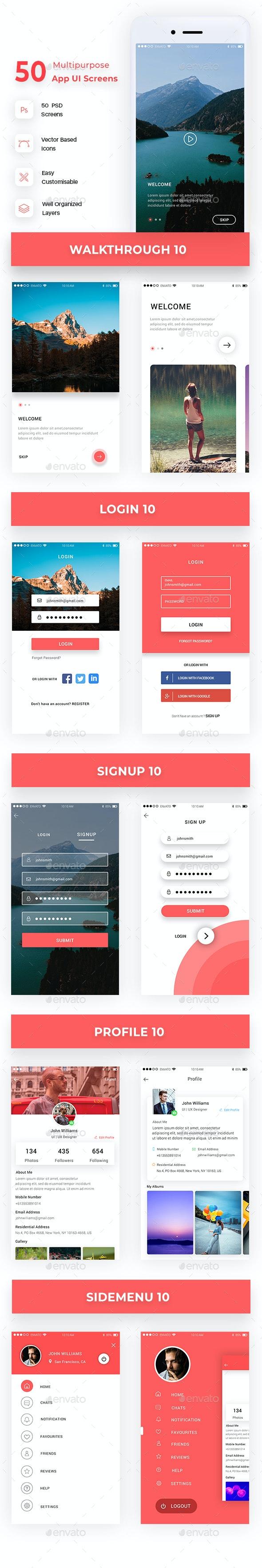 Multipurpose App UI Screens - User Interfaces Web Elements