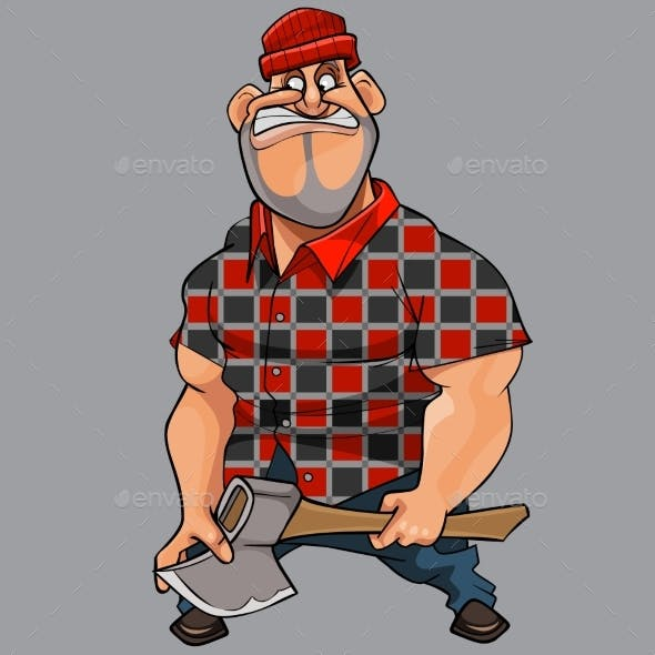 Cartoon Man with an Ax in His Hand