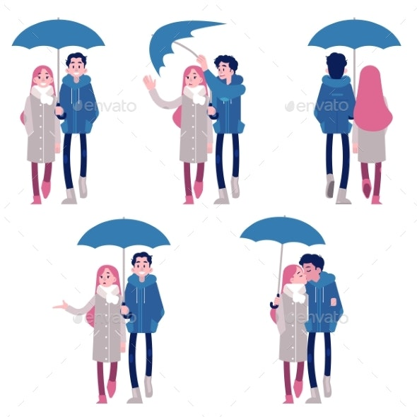 Vector Illustration Set of Couple Under Umbrella - People Characters