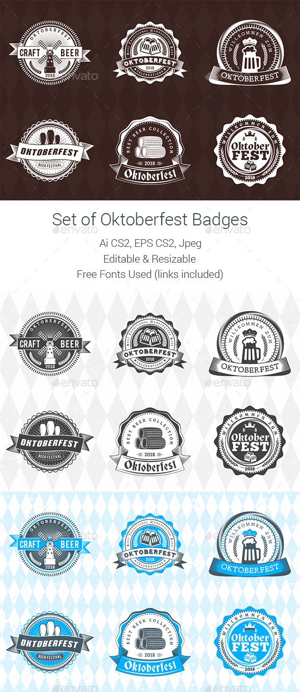 Set of Oktoberfest Badges - Badges & Stickers Web Elements