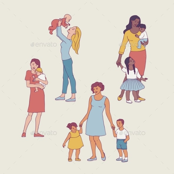 Vector Mothers with Kids - People Characters