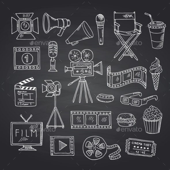 Vector Cinema Doodle Icons on Black Chalkboard - Miscellaneous Vectors