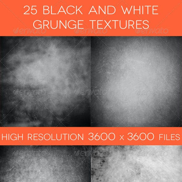25 Black and White Grunge Textures