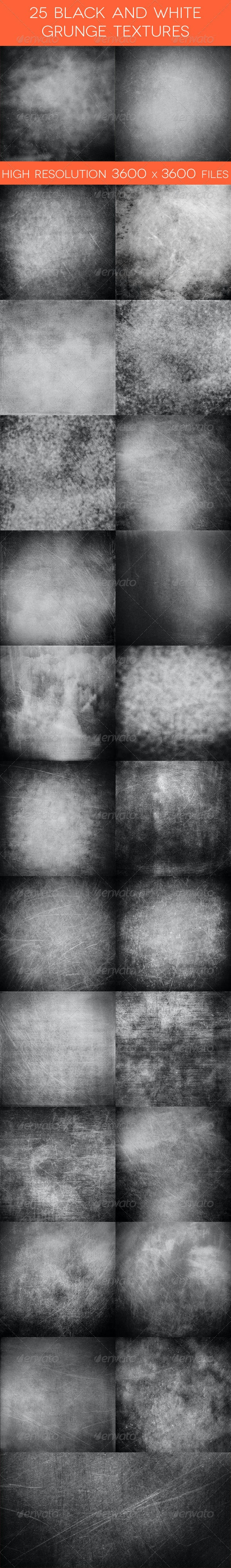 25 Black and White Grunge Textures - Industrial / Grunge Textures
