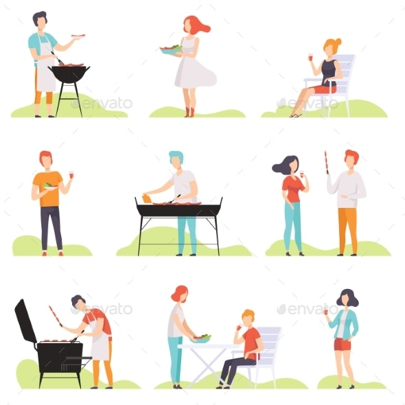 People Grilling Barbecue on a Grill - People Characters
