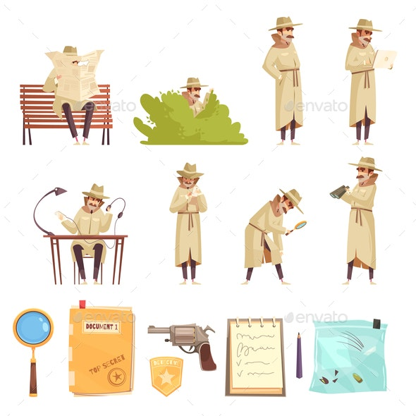 Private Detective Cartoon Icons Collection - Miscellaneous Vectors