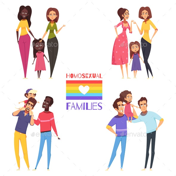 Homosexual Families Set - People Characters