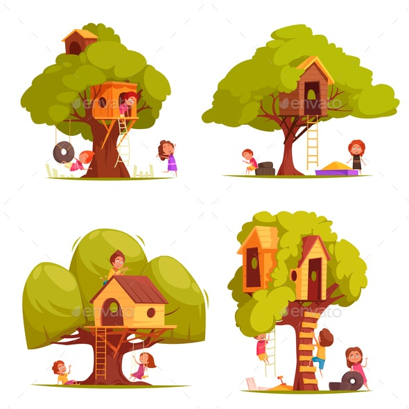 Tree Houses With Children Set - Flowers & Plants Nature
