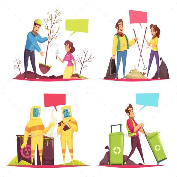Eco Volunteering Cartoon Design Concept - People Characters