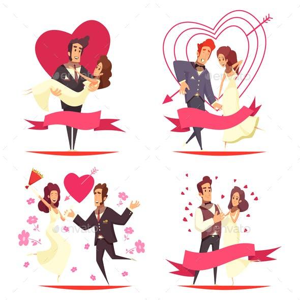 Newlyweds Cartoon Design Concept