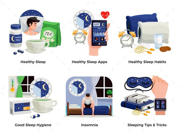 Healthy Sleep And Insomnia Compositions - Miscellaneous Vectors