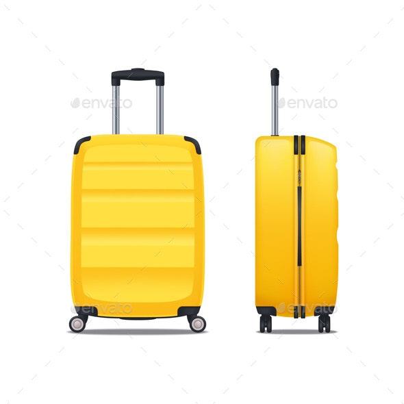 Modern Yellow Plastic Suitcase - Travel Conceptual
