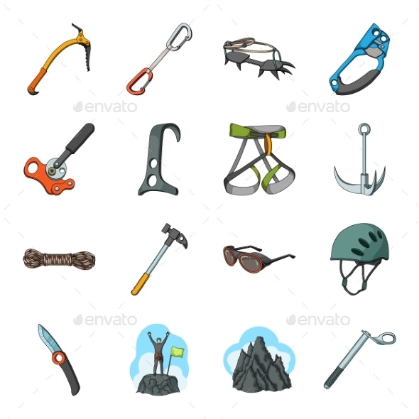 Mountaineering and Climbing Cartoon Icons in Set - Sports/Activity Conceptual