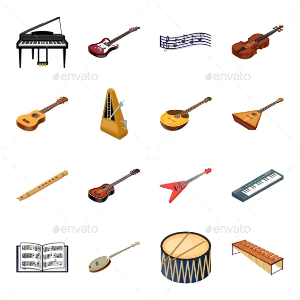 Musical Instrument Cartoon Icons in Set - Man-made Objects Objects