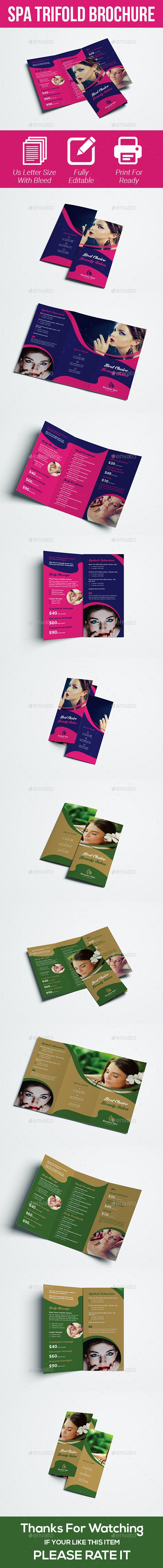 Spa Trifold Brochure Template - Brochures Print Templates