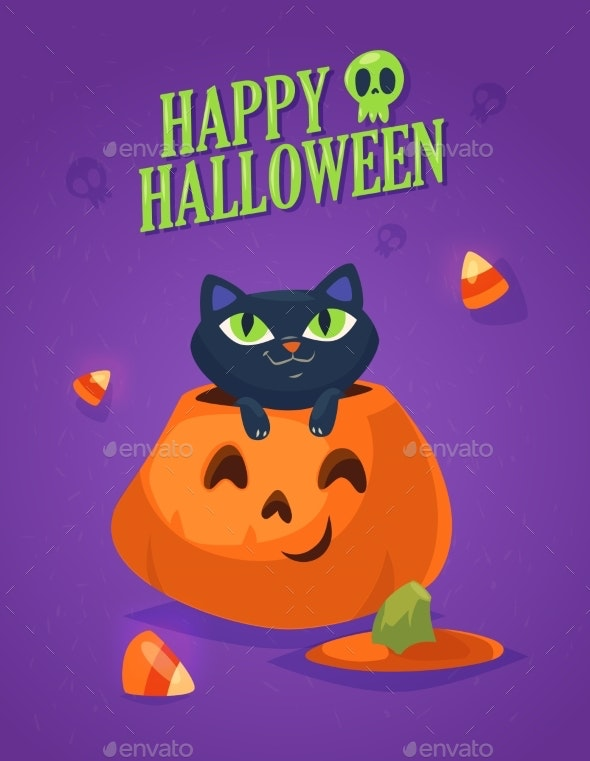 Black Cat in a Halloween Pumpkin - Halloween Seasons/Holidays