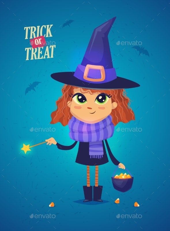 Halloween Witch Girl in a Witch Costume - Halloween Seasons/Holidays