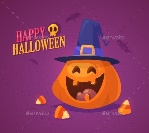 Halloween Pumpkin with Hat - Halloween Seasons/Holidays