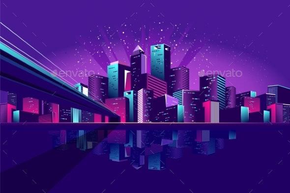Neon City Bridge - Buildings Objects