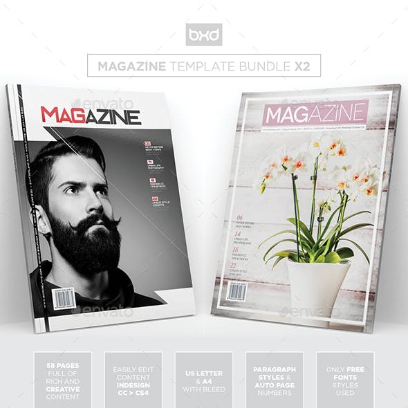 Magazine Template Bundle - InDesign Layout V8