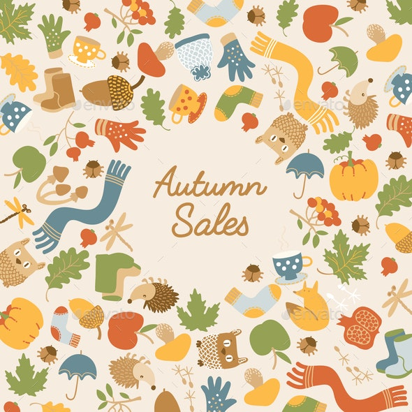 Abstract Autumn Sales Template - Animals Characters