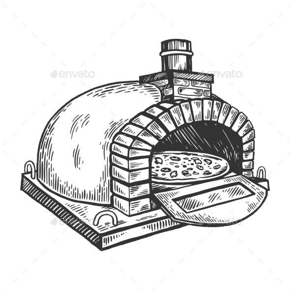 Pizza Oven Engraving Vector Illustration