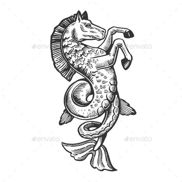 Fish Horse Animal Engraving Vector - Miscellaneous Vectors