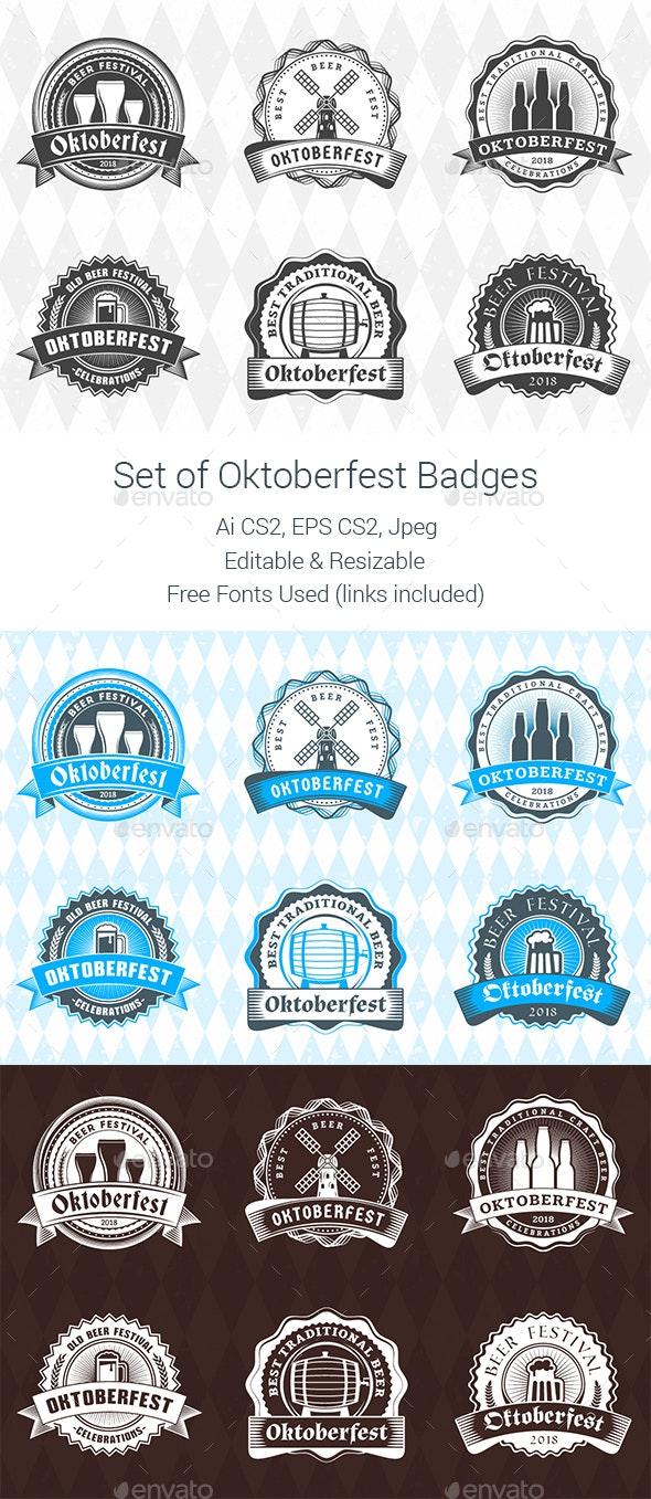 Set of Oktoberfest Badges - Badges & Stickers Web Elements