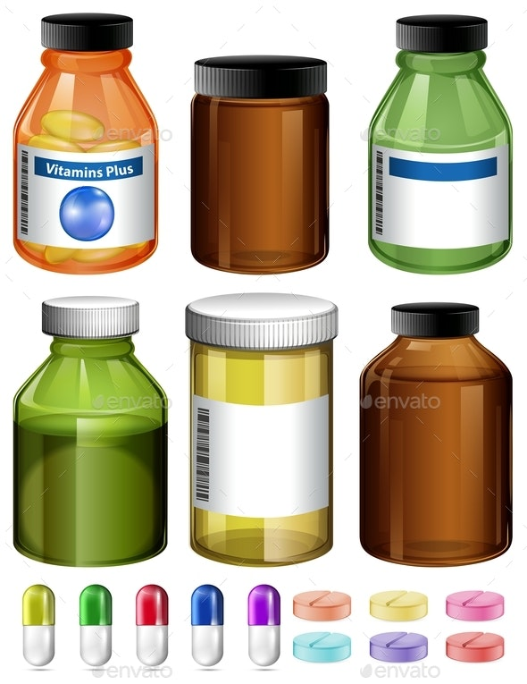 A Set Of Medicine And Container - Food Objects