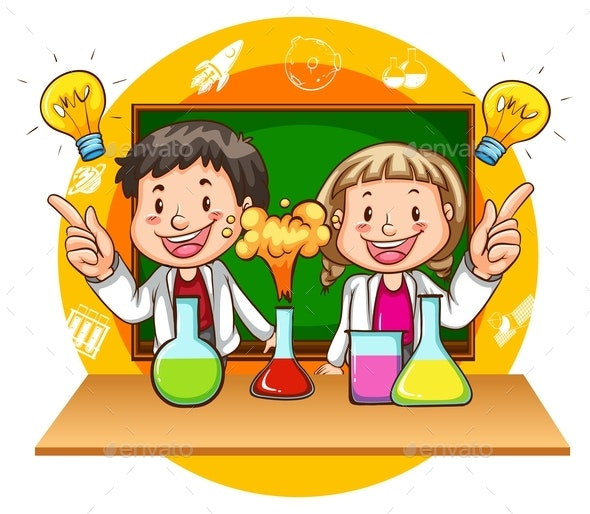 Boy And Girl Doing Science Experiment - People Characters