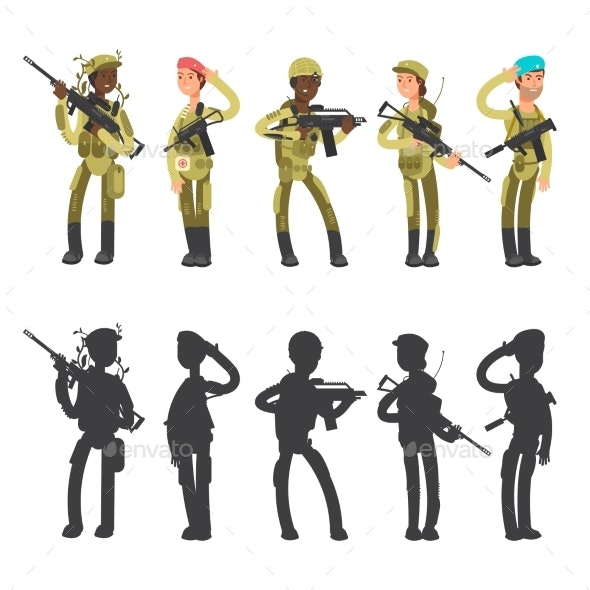 Silhouettes of Military Man and Woman, Cartoon - Miscellaneous Vectors