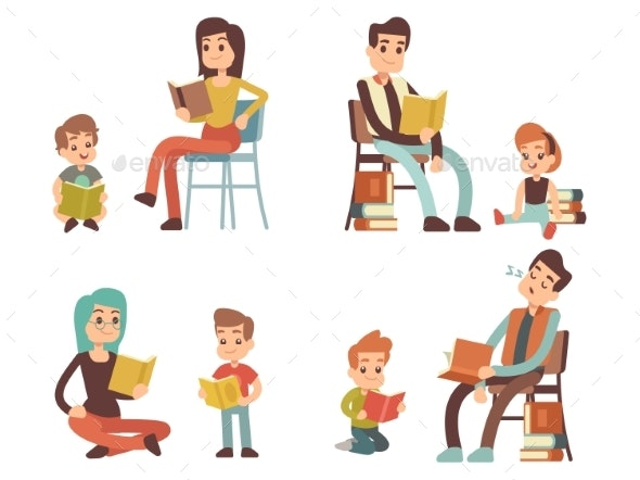 Cartoon Character Adults and Kids Reading Books - Miscellaneous Vectors